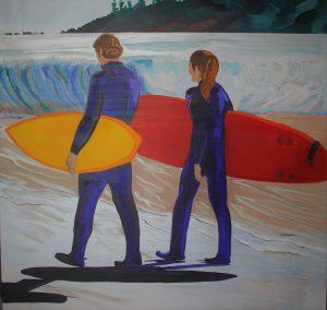 Surfs Up 36x36 Mixed media Tofino British Columbia